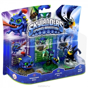 Skylanders. Набор из трех фигурок: Wrecking Ball, Stealth Elf, Sonic Boom